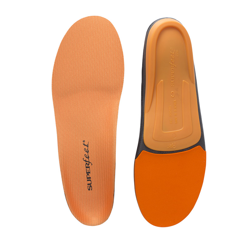 Superfeet orange insoles for shock absorption and male feet